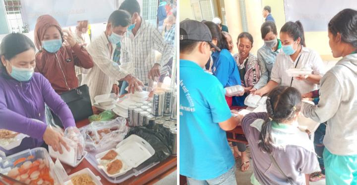 Distribution de repas végétariens
